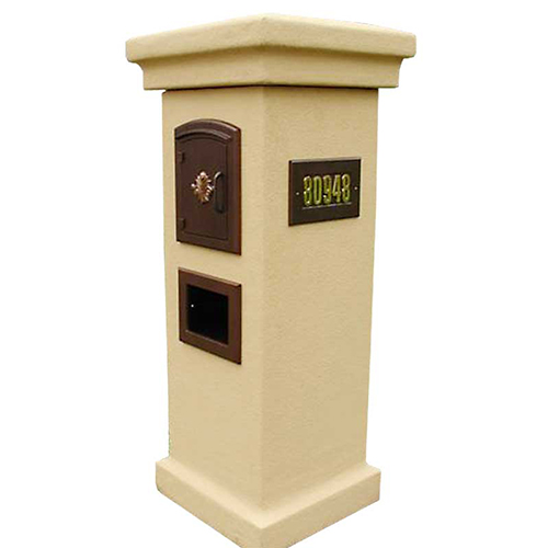 Manchester Stucco Column Locking Mailboxes